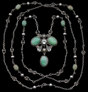 Mary Thew. Silver, jade, goshenite and peal pendant and necklace. Sold by tadema Gallery.