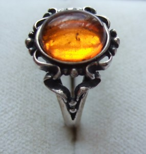 Art Nouveau style Baltic amber and silver ring.