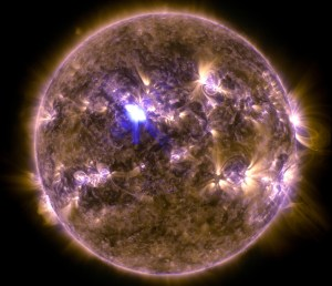 Sun with solar flare. 13 April 2013. Photo by NASA Solar Dynamics Observatory.
