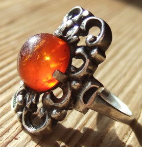 Baltic amber and 800 silver ring by Wilhelm Becker of Pforzheim.