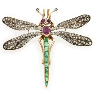 Victorian emerald, ruby and rose-cut diamond dragonfly brooch.