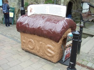 The Hovis bread loaf collecting box, outside Shaftesbury Town Hall near the top of Gold Hill.