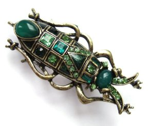 Vintage jewelled beetle brooch.