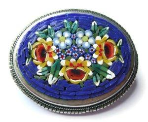 Italian micromosaic brooch.
