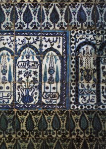 Iznik tiles in the tomb of 'Abū 'Abdillāh Muḥammad ibn 'Alī ibn Muḥammad ibn `Arabī in Damascus.