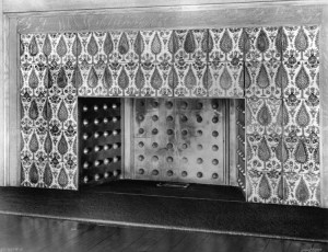 Iznik tiles in the dining room fireplace in the Glessner House, before their removal in the 1930s.