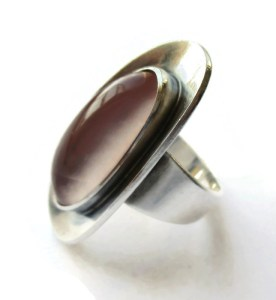 N E From modernist rose quartz ring. For sale in my Etsy shop: click on photo for details.