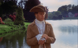 Barry Lyndon (Ryan O'Neal) on the bridge at Stourhead, with the Pantheon in the background.