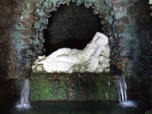 The sleeping nymph in the grotto.