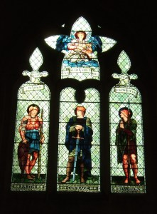 Stained glass window designed by Edward Burne-Jones and made in the William Morris workshops in 1901.
