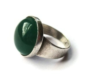NE From chrysoprase adn sterling silver modernist ring. For sale in my Etsy shop: click on photo for details.