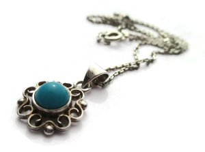 Small N E From turquoise pendant and chain. For sale in my Etsy shop: click on photo for details.