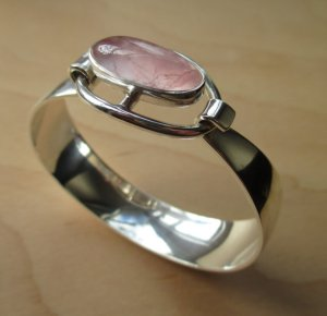 N E From rose quartz modernist bangle. For sale in my Etsy shop: click on photo for details.