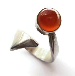 Niels Erik From carnelian and sterling silver modernist ring. For sale in my Etsy shop. Click on photos for details. (NOW SOLD.)