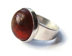 Niels Erik From Baltic amber and sterling silver modernist ring, for sale in my Etsy shop. Click on photo for details.