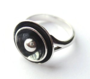 N E From moderist sterling silver ring. For sale in my Etsy shop: click on photo for details.