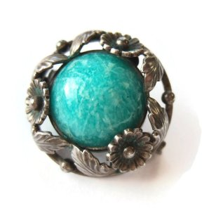 N E From amazonite and sterling silver brooch. For sale in my Etsy shop: click on photo for details.