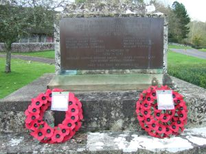 The plaque on the war memorial at Dinton listing those who died in the two World Wars.