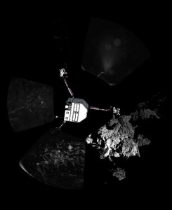 Panoramic image series taken by Philae, with a sketch of the lander itself superimposed indicating its probable orientation.