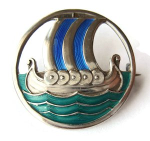 Fabulous David-Andersen Viking ship brooch, dated to between 1924 and 1939, for sale in my Etsy shop. Click on photo for details.
