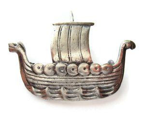 Viking ship brooch in 830 silver, by Aksel Holmsen of Norway. For sale in my Etsy shop: click on photo for details.