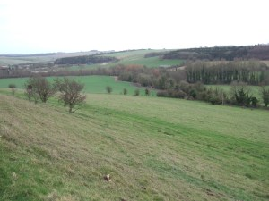 Looking eastwards from the lower slopes of Cold Kitchen Hill, looking up the valley towards Monkton Deverill.