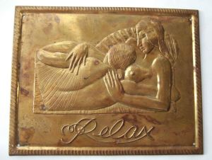 Brass plaque based on the Eric Gill woodcut in , for sale in my Etsy shop. Click on photo for details.