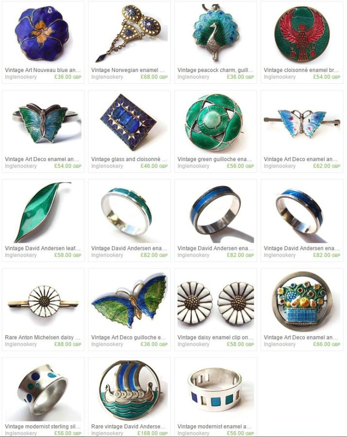 Enamel jewellery for sale in my Etsy shop. Click on the photo to see them all.