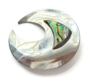 Vintage stainless steel and abalone brooch.