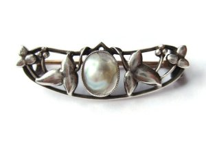 Antique Arts and Crafts blister pearl brooch.