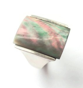Vintage modernist black abalone ring.