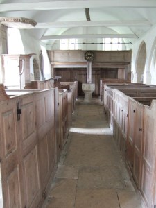 The interior of the church, looking towards the gallery at the north end. The triple decker pulpit is on the left (the south side of the nave).