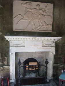 The white marble fireplace in the temple at the Larmer Tree Gardens.