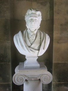Bust of Augusts Pitt Rivers in the Temple at the Larmer Tree Gardens.