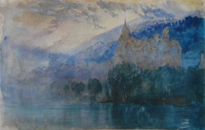 John Ruskin. The Chateau of Neuchatel at dusk, with Jura mountains beyond. 1866, pencil and watercolour, 13.3 x 21 cm.