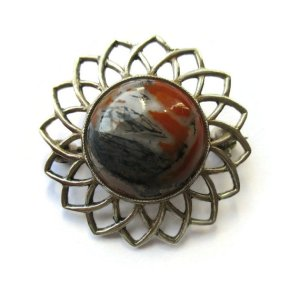 Vintage John Hart Scottish moss agate and sterling silver brooch, 1962. For sale in my Etsy shop: click on photos for details.