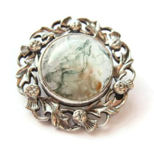 Vintage John Hart Scottish moss agate and sterling silver brooch.