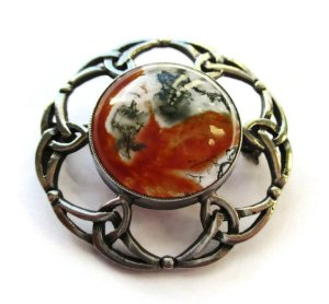 Vintage John Hart Scottish moss agate and sterling silver brooch, 1965. Click on photos for details. (NOW SOLD).