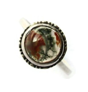 Vintage Art Deco moss agate ring.
