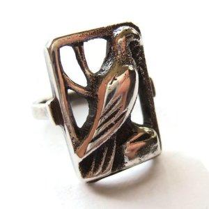 Vintage 830 silver bird ring, Danish silver openwork ring, eagle, hawk, raptor or dove, Scandinavian silver.