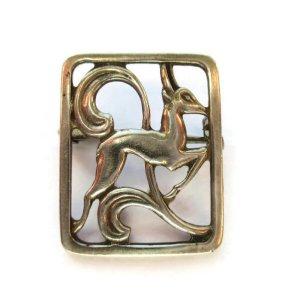Vintage Scandinavian silver leaping deer brooch by A Klokker, Denmark.