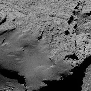 Comet 67P/C-G viewed with Rosetta's OSIRIS NAC on 30 September 2016, 8.9 km from the surface. Credit: ESA/Rosetta/MPS for OSIRIS Team MPS/UPD/LAM/IAA/SSO/INTA/UPM/DASP/IDA
