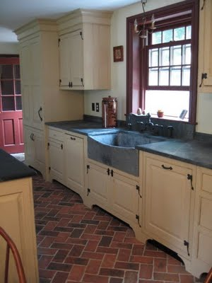 brick floor kitchen sink amazon kitchens inglenook tiles pavers thin tile blume king street 4x8