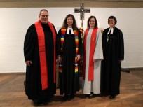 Das Hauptamtlichen-Team in St. Paulus (vlnr: Pfarrer Christoph Schürmann, Pfarrerin Anja Raidel, Diakonin Maythe Binder) mit Dekanin Gabriele Schwarz.