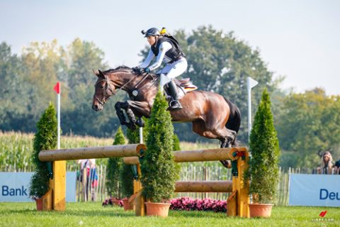 GER-Ingrid Klimke rides Equistros Siena Just Do It during the Cross Country for the CCIO4*-S Eventing - SAP Cup. 2021 GER-CHIO Aachen Weltfest des Pferdesports. Aachen, Germany. Saturday 18 September. Copyright Photo: Libby Law Photography