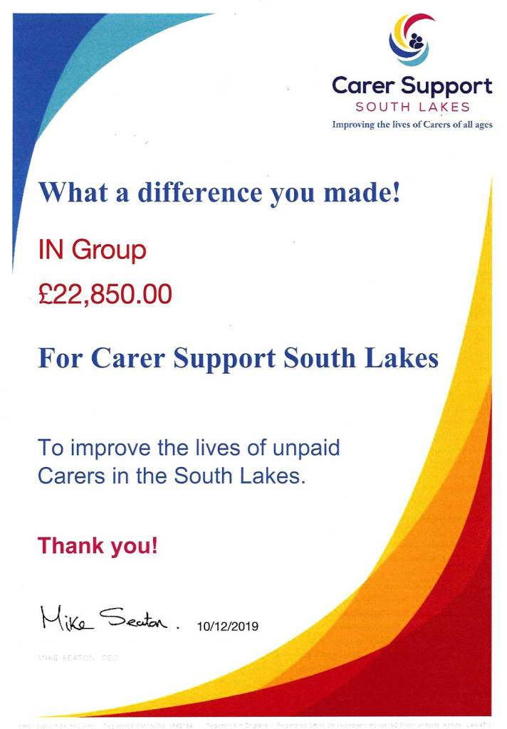 Carer Support South Lakes donation