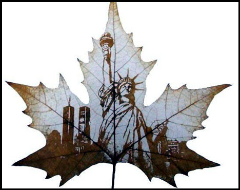 eco-art, leaves, sustainable art, recycled leaves, engraved leaves, carved leaves