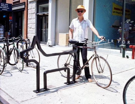 One of David Byrnes Bike Racks, which can be found throughout NYC