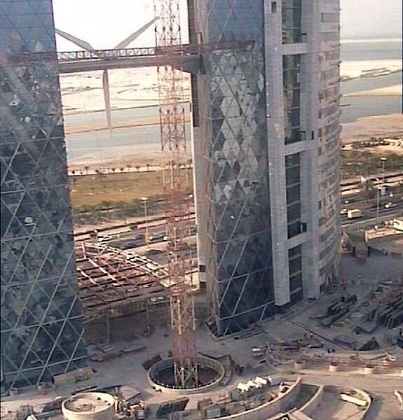 BAHRAIN WORLD TRADE CENTER Wind Turbines, Manama, Wind Power, Eco Scraper, Atkins, Green sky scraper, Bahrain Eco Building, Bahrain WTC, construction photos