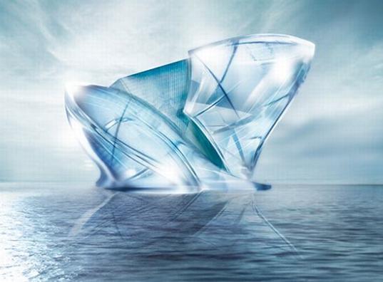 sustainable design, green design, blue crystal, dubai, iceburg, glacier, greenwashing, solar power, photovoltaics, resort